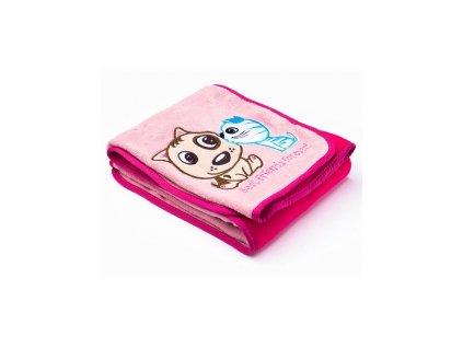 2485 detska deka sensillo psik a macicka 75x100 cm pink