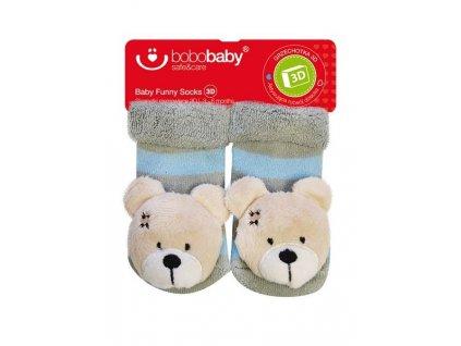 2578 kojenecke ponozky s hrkalkou bobo baby sedo modre s medvedikom