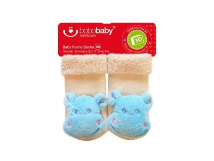 2587 kojenecke ponozky s hrkalkou bobo baby bezove s hrosikom