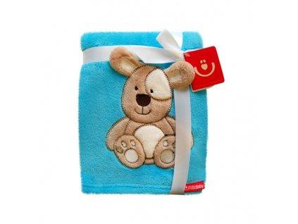 Detská deka z mikrovlákna Bobo Baby tyrkysová (Motív Pes)