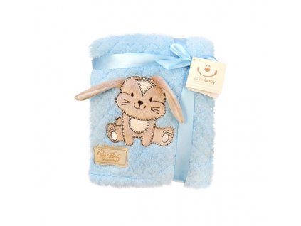 2677 detska chlpata deka bobo baby modra so zajacikom