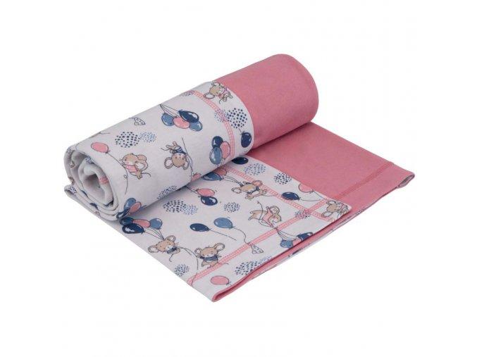 Letná bavlnená deka dvojitá Myšky ružová
