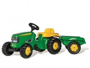 ROLLY TOYS Šliapací traktor Rolly Kid John Deere s vlečkou zelený