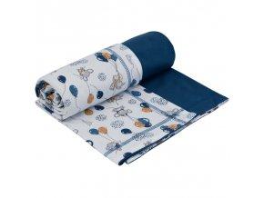Letná bavlnená deka dvojitá Myšky modrá