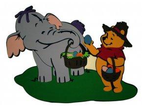 Dekorácia na stenu sloník s Pooh s košíkom