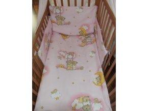 3 dielne posteľné obliečky New Baby 90 120 cm ružové s medvedíkom