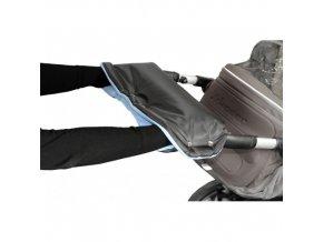 Rukávnik na rukoväť kočiara KLASIK fleece čierny / sv.modrý
