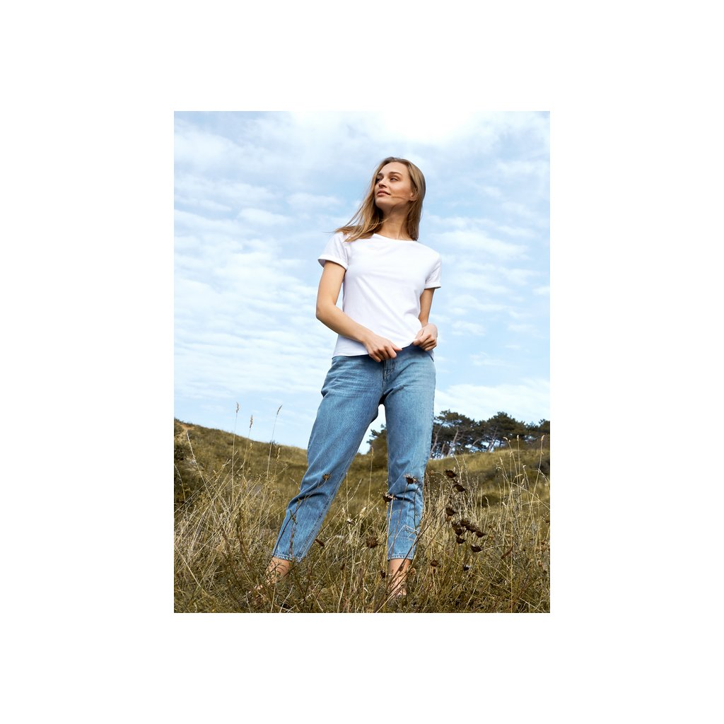 O80012 Ladies Roll Up Sleeve T shirt White (2)