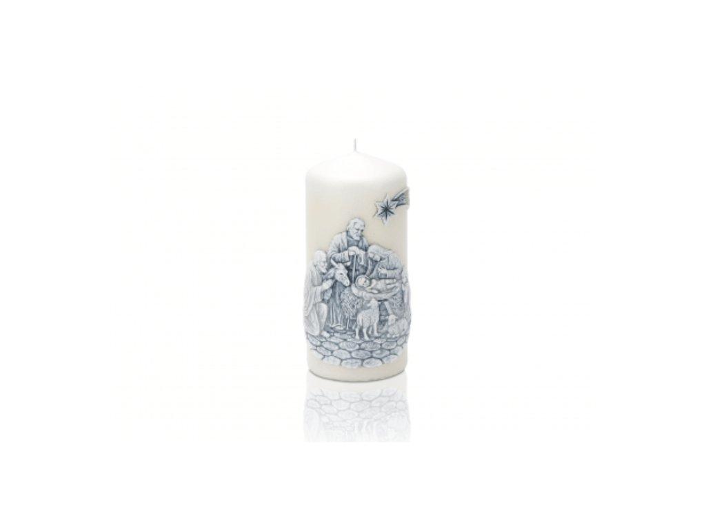 Vánoční svíčka 60x130 modrý Betlém