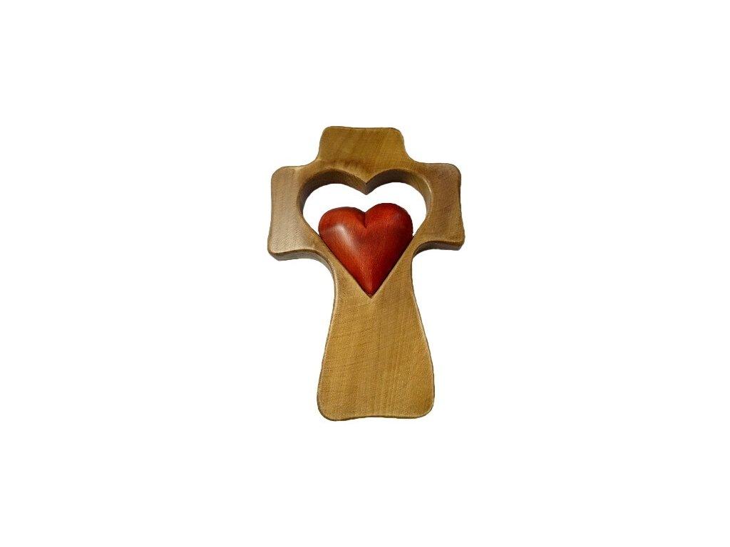 1393 Zaex Kříž hnědý s červeným srdcem malým 1