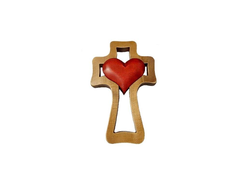 1394 Zaex Kříž hnědý s červeným srdcem velkým 1