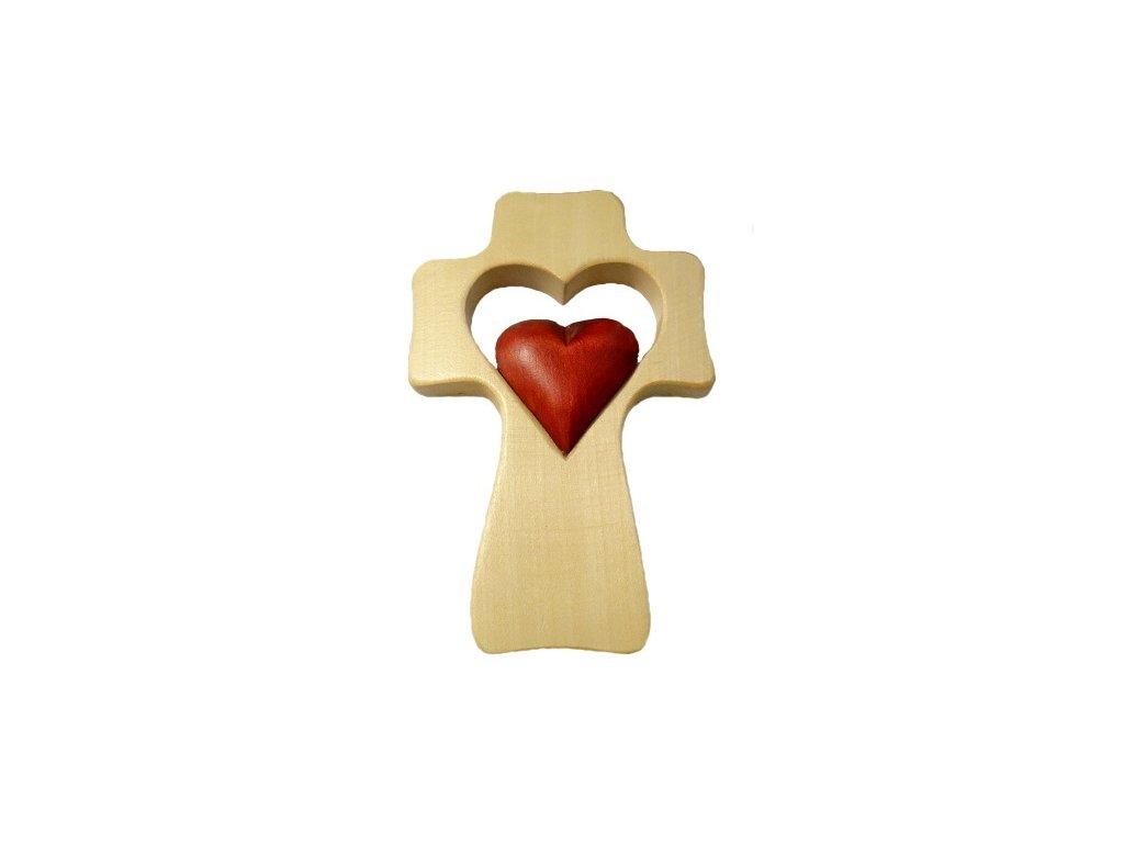 575 Zaex Kříž světlý, červené srdce malé 1