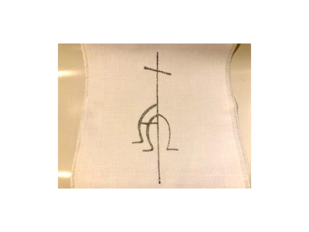 677 krestni rouska malovana stribrna alfaomega