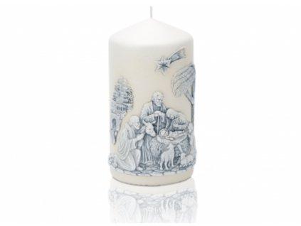 Vánoční svíčka 80x150 modrý Betlém