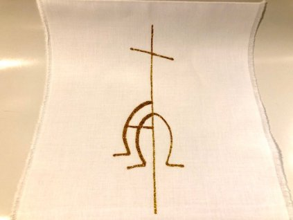 680 krestni rouska malovana zlata alfaomega
