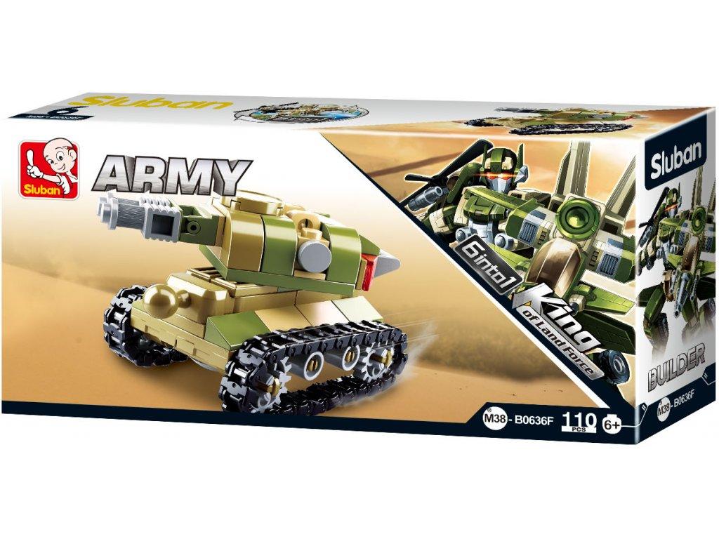 Sluban Builder M38-B0636F Tank King of Land Force 6 into 1