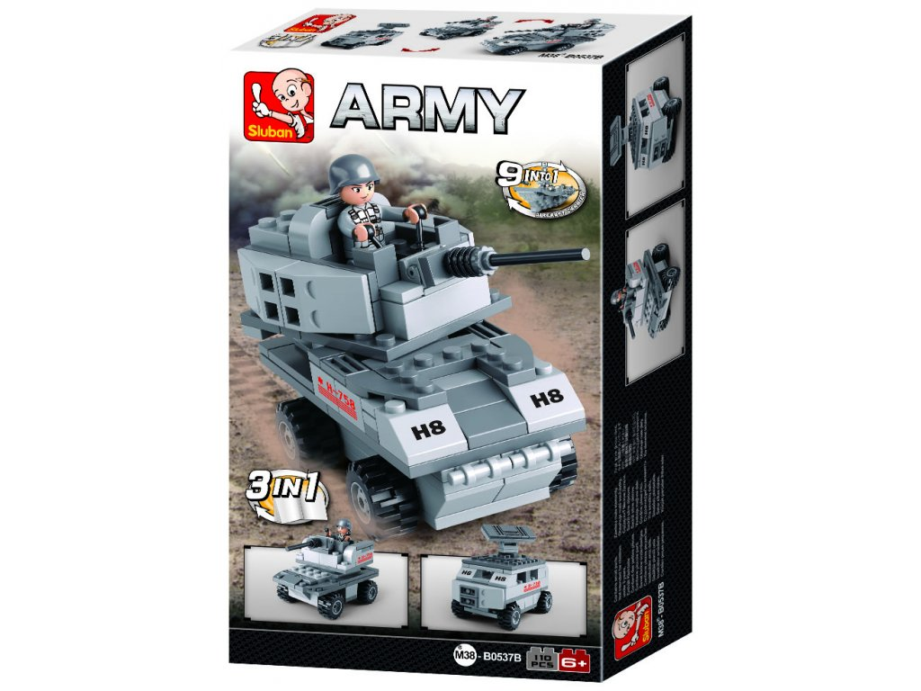 Sluban Army 9into1 M38-B0537B Obrněné vozidlo 3v1