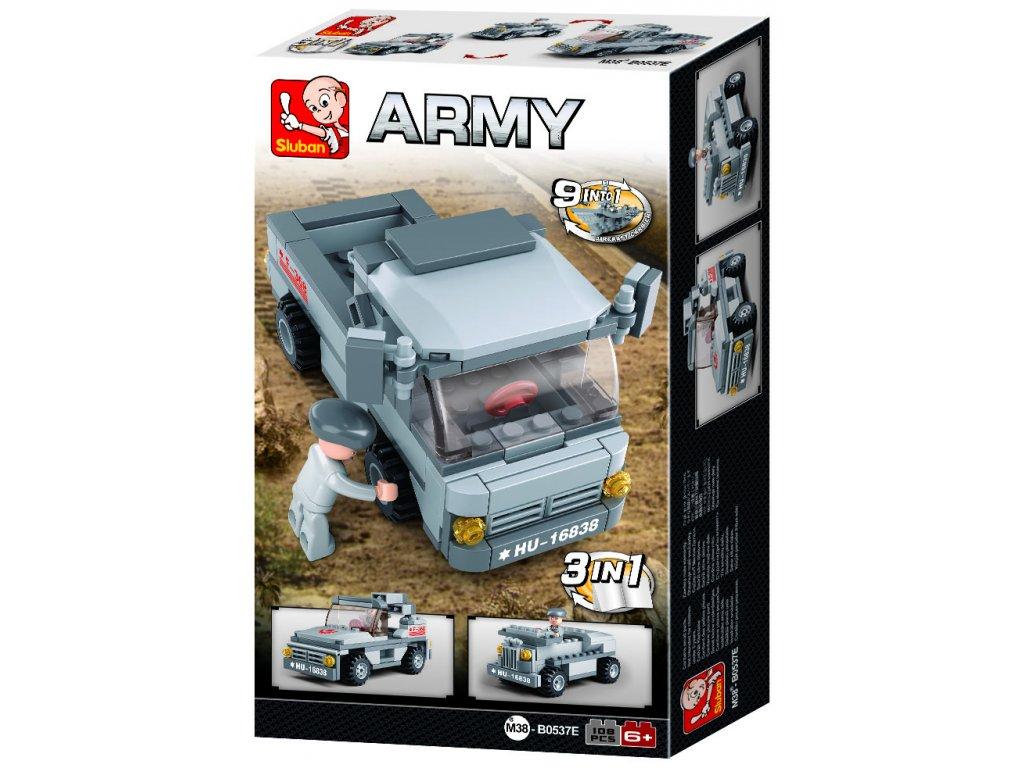Sluban Army 9into1 M38-B0537E Transportní vůz 3v1