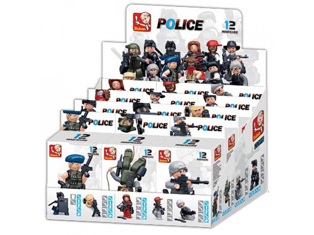 Sluban Figurky Policajti a zloději M38-B0586 12ks v krabičkách
