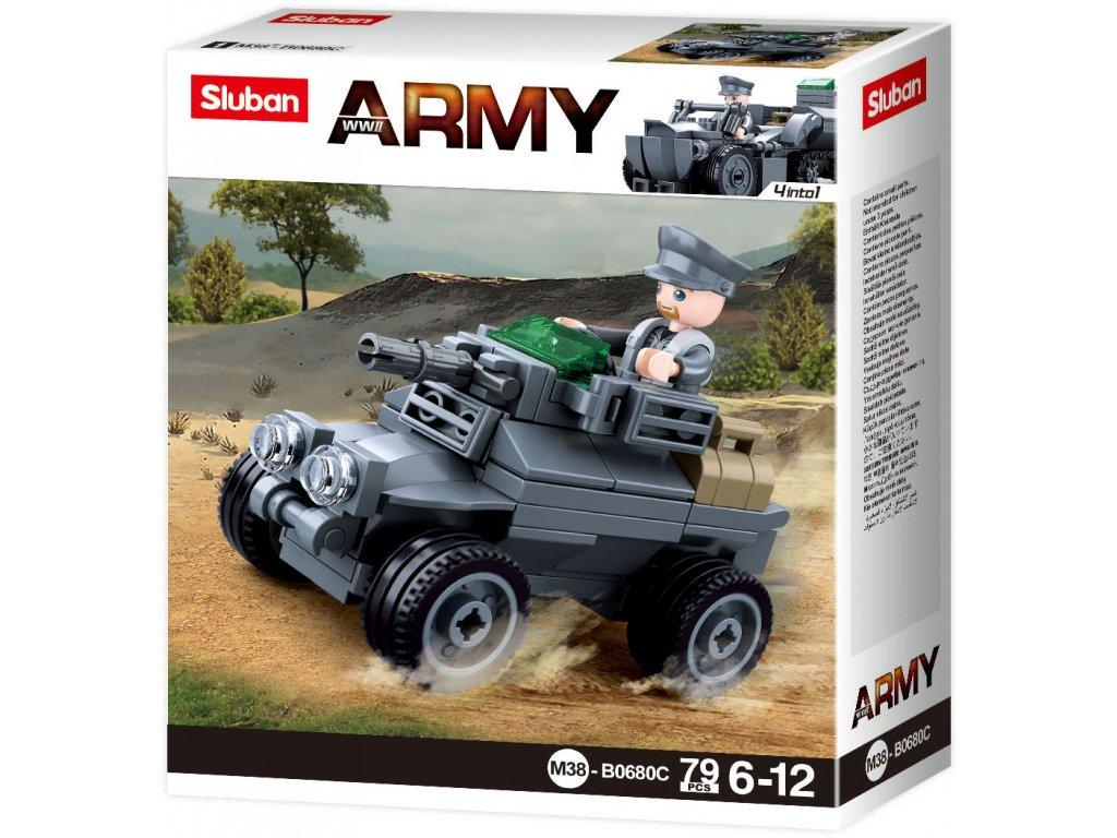 Sluban Army WW2 4into 1 M38-B0680C Malý německý obrněný vůz