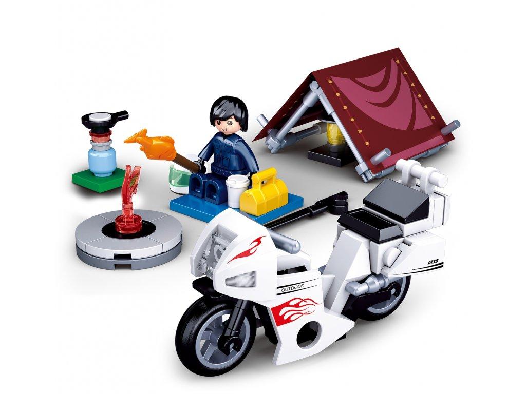 Sluban Town Motorky M38-B0717E Motorkář v kempu