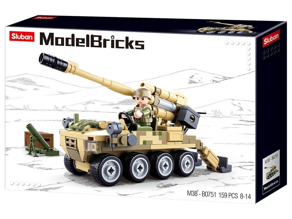 Sluban Army Model Bricks M38-B0751 Mobilní kanón 8x8 s pozemním minometem