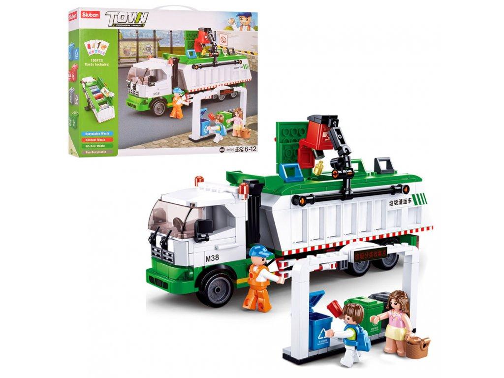 Sluban Town M38-B0780 Popelářský recyklační vůz + hra s kartami