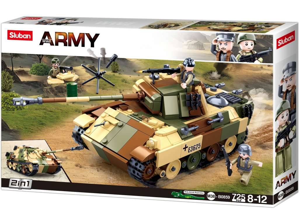 Sluban Army N38-B0859 Maskovaný tank střední 2v1