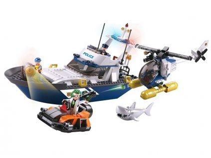 Sluban Policie M38-B0657 Loď, vrtulník a zloděj v člunu