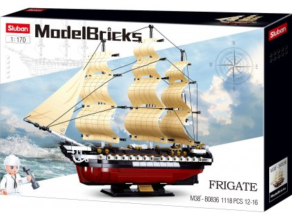 Sluban Model Bricks M38-B0836 Fregata - Plachetní válečná loď 1:170