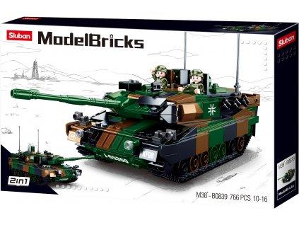 Sluban Army Model Bricks M38-B0839 Hlavní německý bitevní tank 2v1
