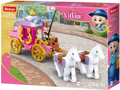Sluban Girls Dream Village M38-B0872 Dobový kočár s koníčky