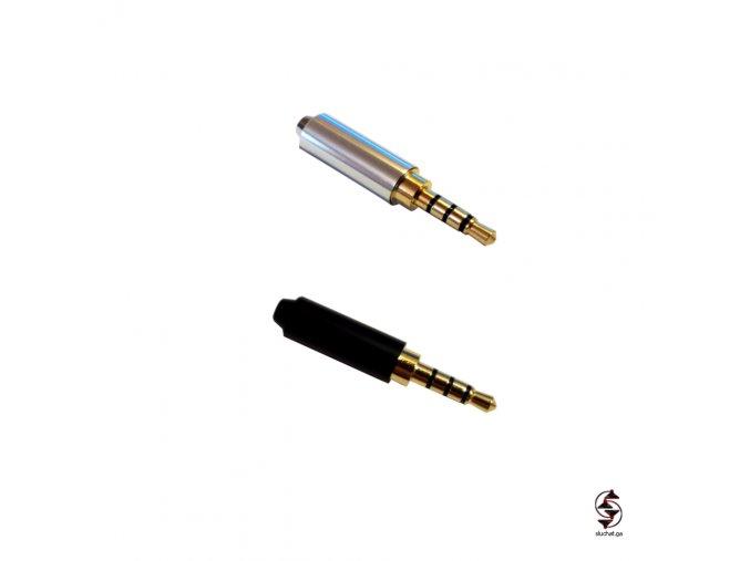 Černý a stříbrný konektor Jack 3,5 mm TRRS - Jack Dur