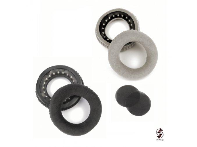 Semišové neoriginální náušníky pro sluchátka Beyerdynamic v šesé a černé barvě