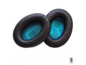 Kvalitní koženkové náušníky ke sluchátkům Bose QC 25 - zeleno černé
