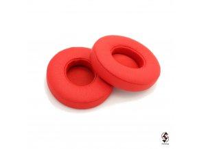 Náušníky k červeným sluchátkům Beats Solo 2 a Solo 3 wireless - molitanové vycpávky s červenou koženkou