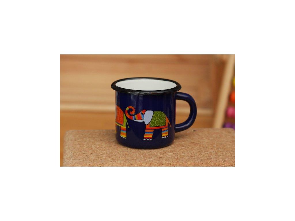 Smaltovaný hrnek 7cm - tmavě modrý - slon