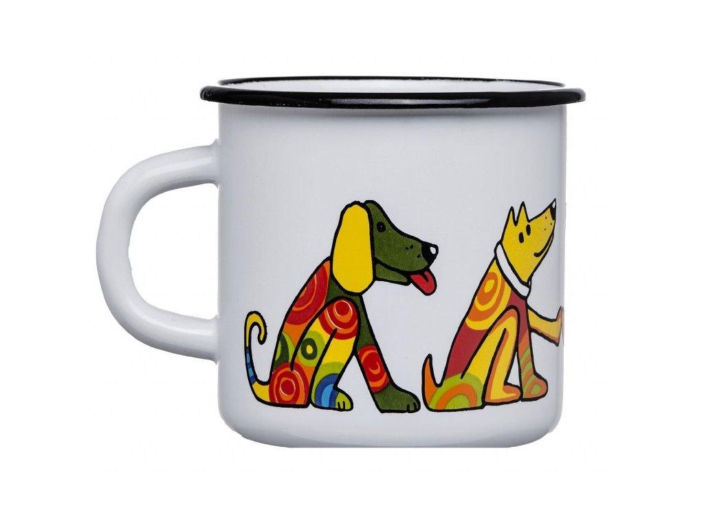 1662 5 smaltovany hrnek bily motiv pes
