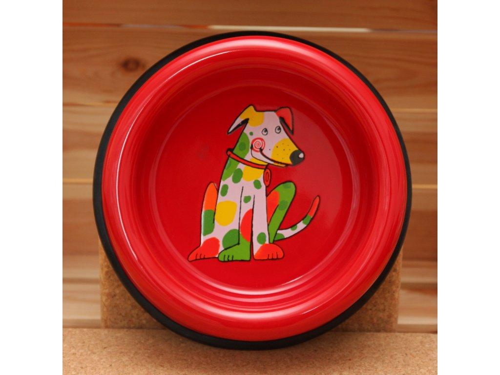 psi miska stredni červená smalt