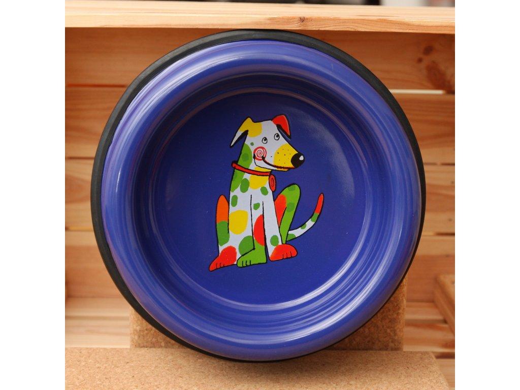 Smaltovaná psi miska modra velka