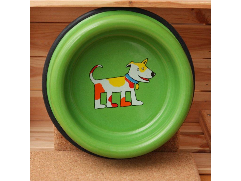 Smalt psi miska zelena velka
