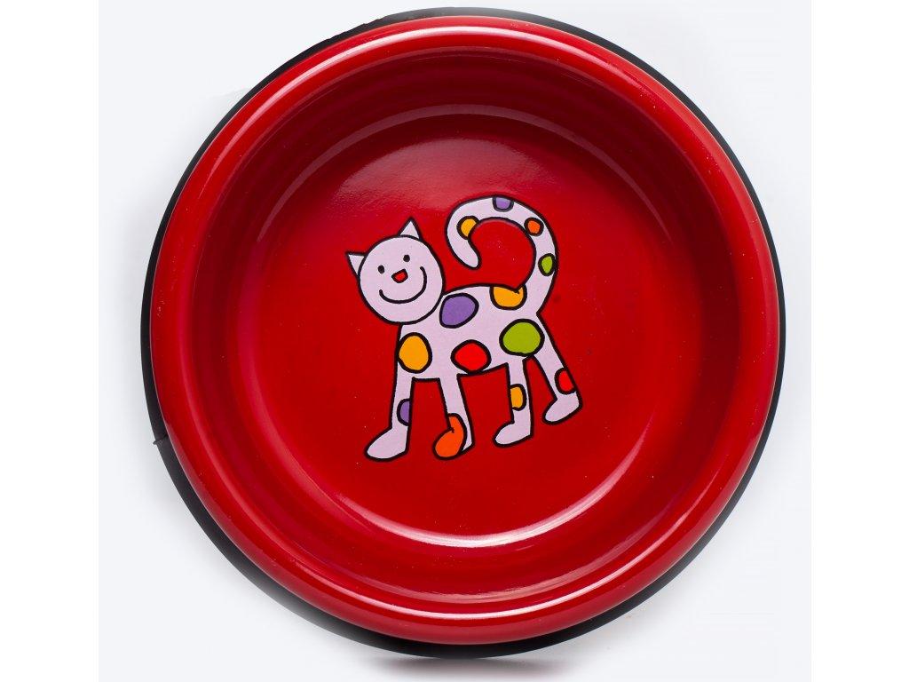 Smaltovana miska cervena kote