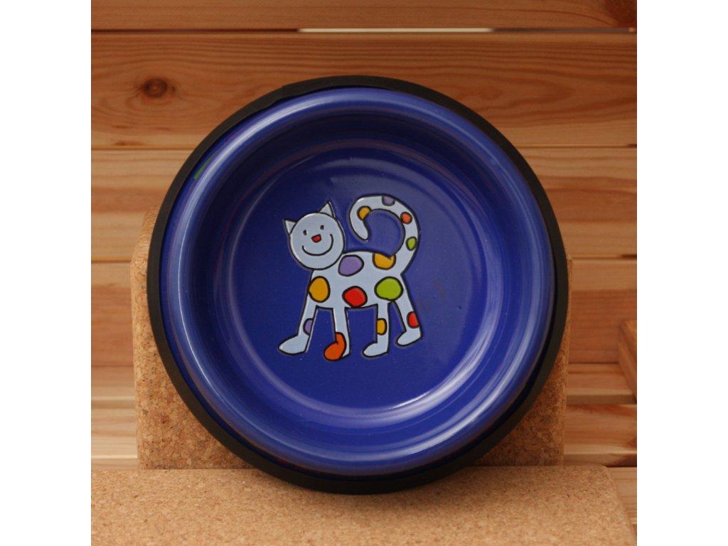 Smaltovaná kocici miska modra