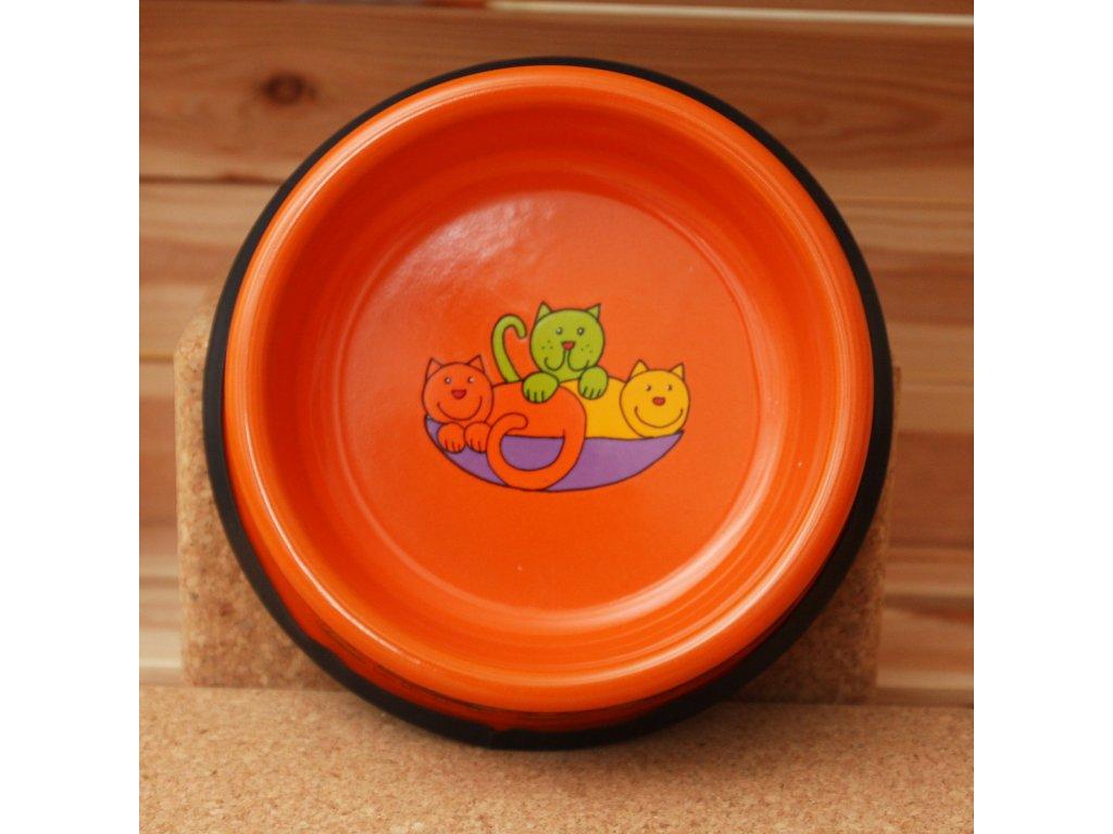 Kočicí miska - oranžová