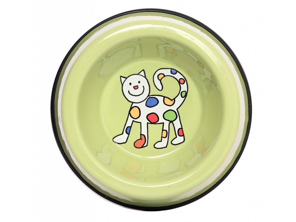 Smaltovana miska zelena maka kocka (2)