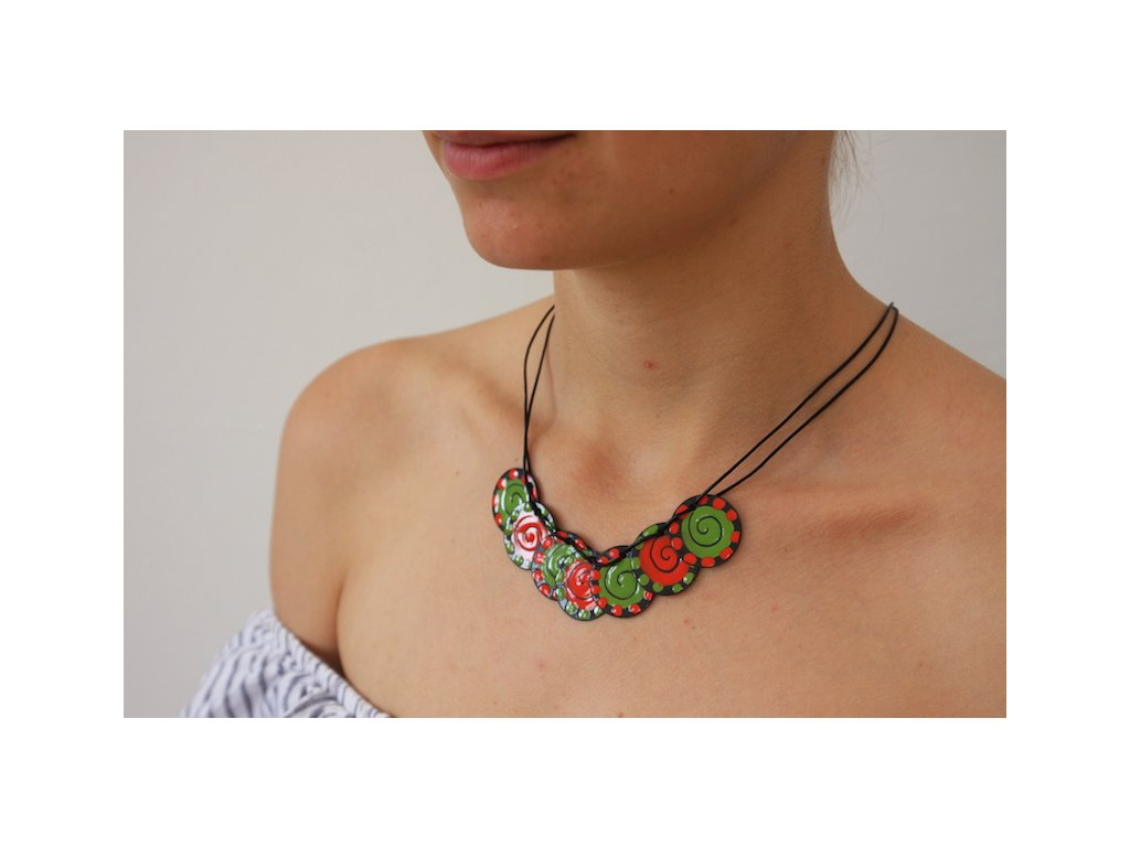 green red necklace