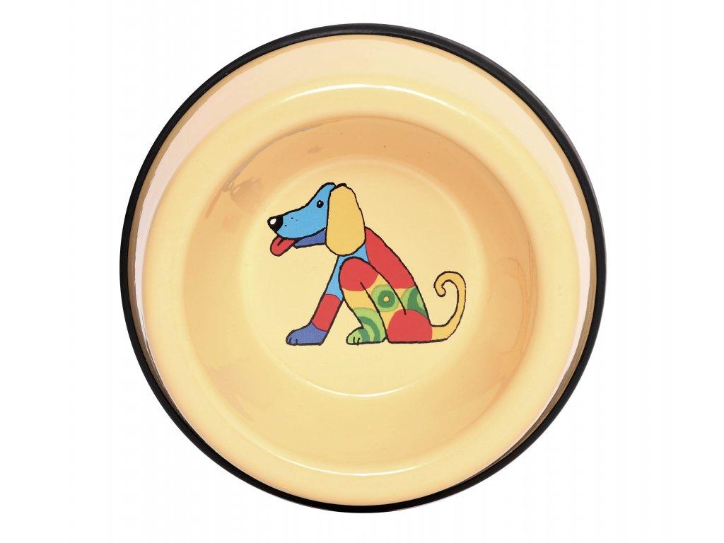 miska pro psy zluta mala smalt