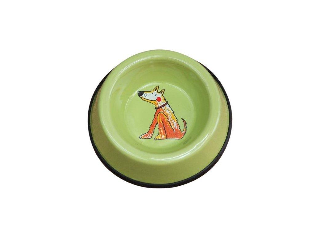 Smaltovaná miska pro psy světle zelená malá