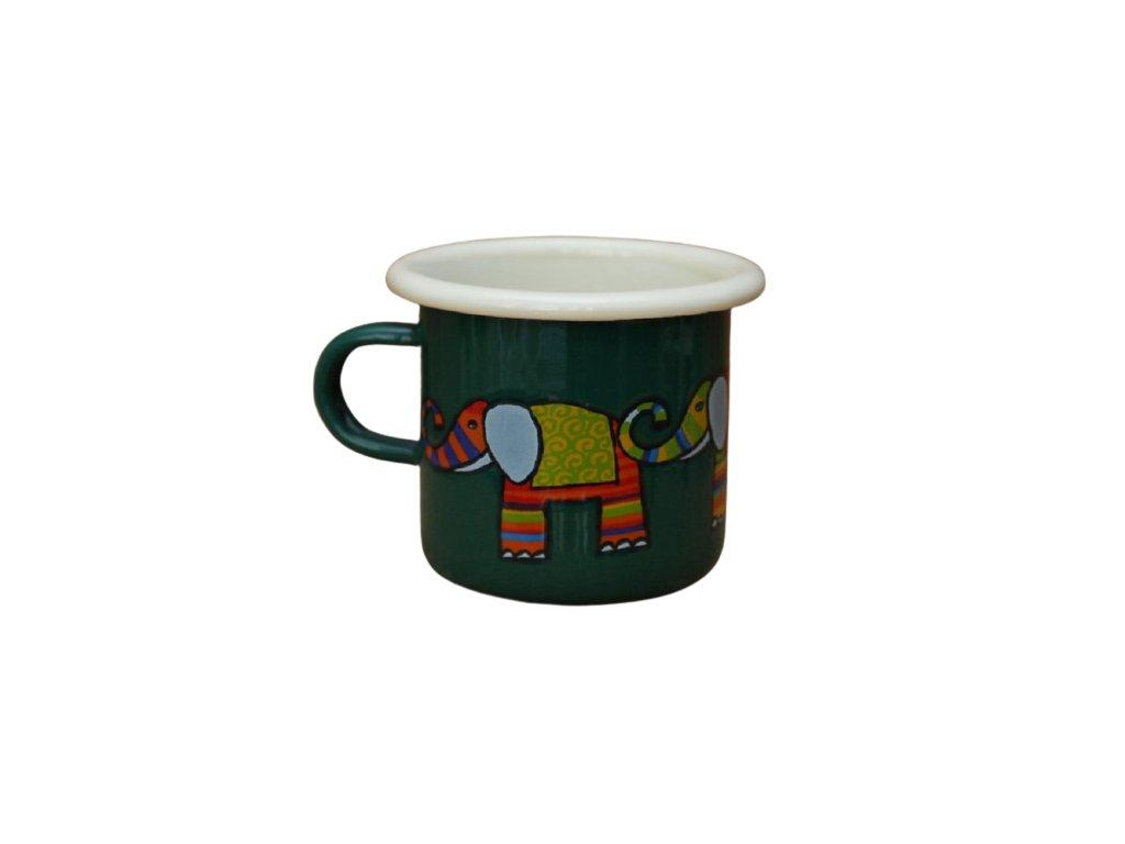 Smaltovany hrnek smaltum cz tmave zeleny espresso slon removebg preview
