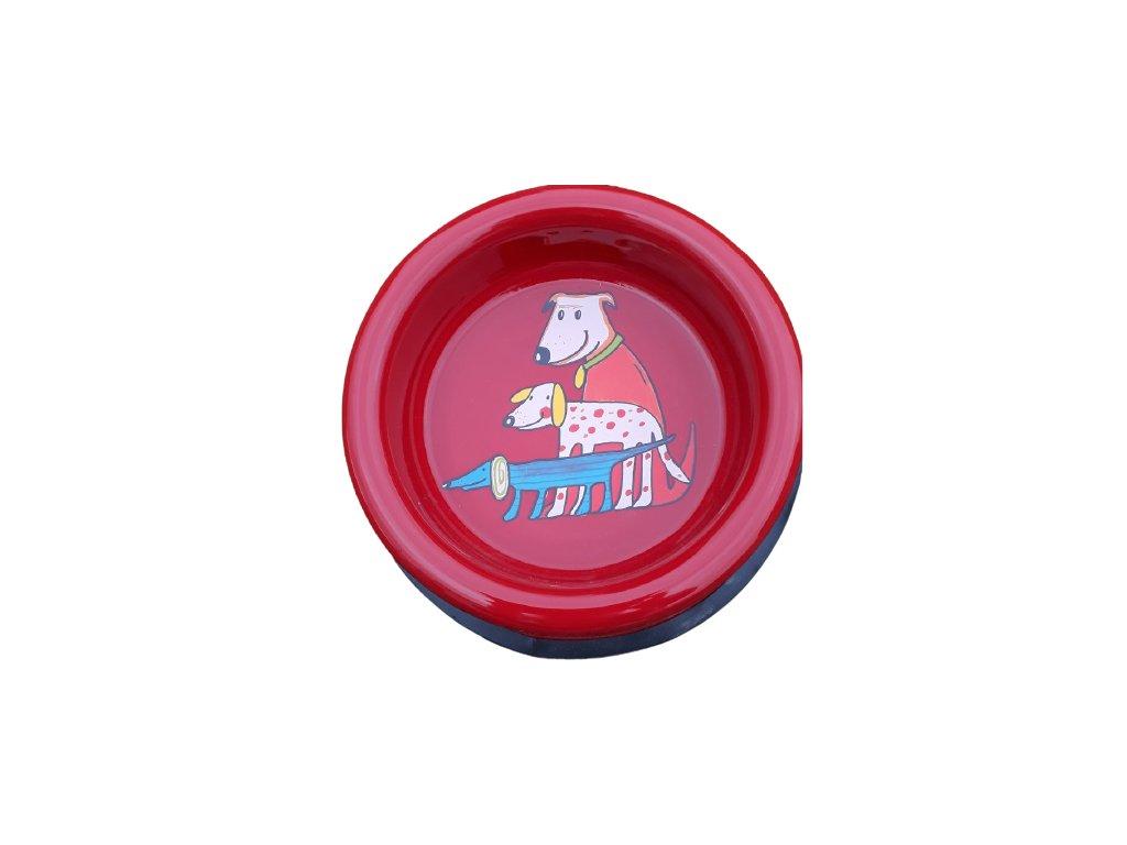 Smaltovana miska pro psy cervena removebg preview